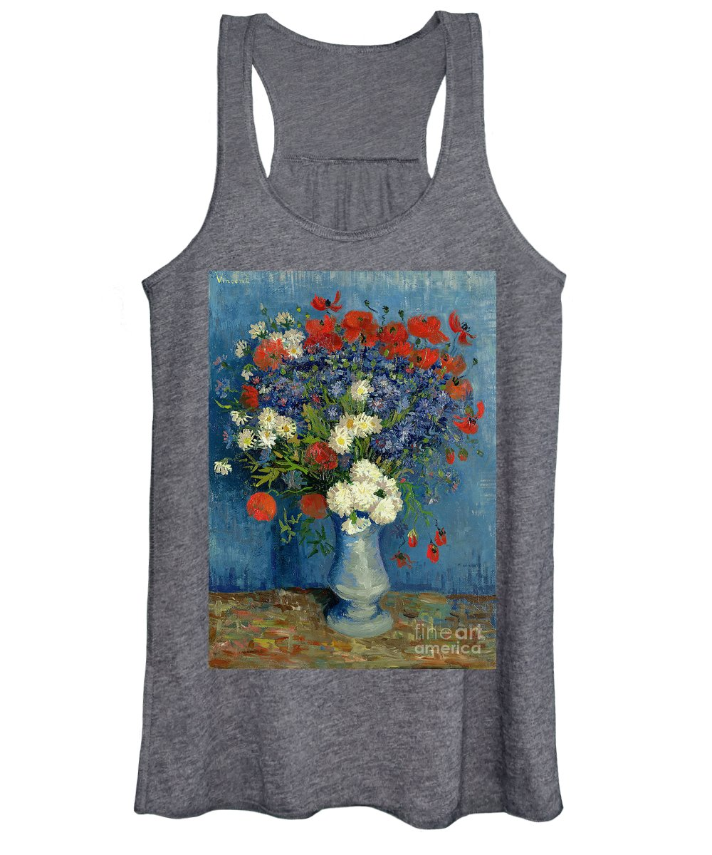 Still Women's Tank Top featuring the painting Vase With Cornflowers And Poppies by Vincent Van Gogh