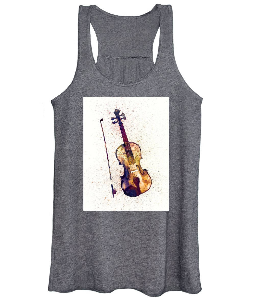 Musical Instrument Women's Tank Top featuring the digital art Violin Abstract Watercolor by Michael Tompsett