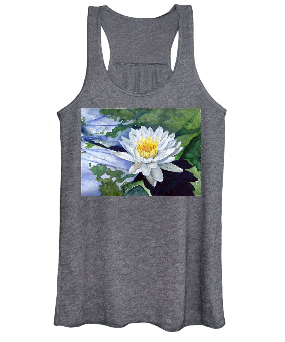 Flower Women's Tank Top featuring the painting Water Lily by Sam Sidders