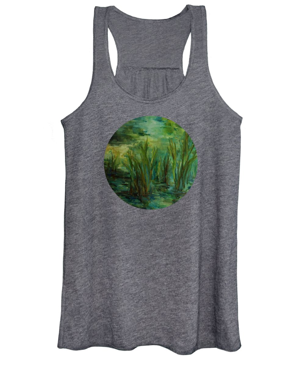 Lake Reflections Women's Tank Top featuring the painting Water Reflections by Mary Wolf