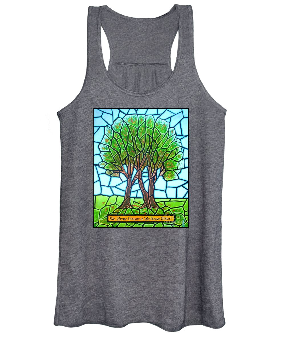 Aging Women's Tank Top featuring the painting We Grow Closer as We Grow Older by Jim Harris