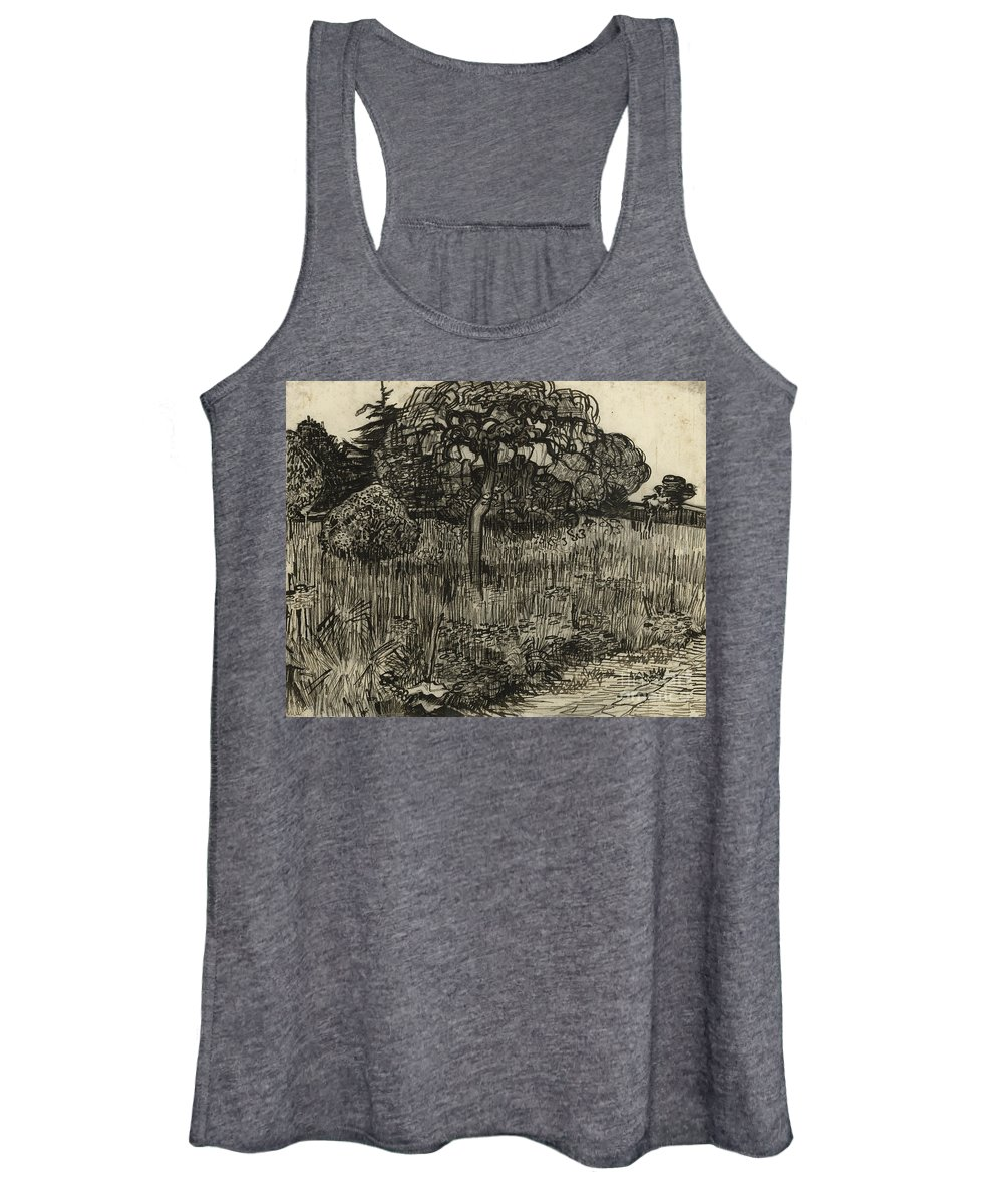 Van Gogh Women's Tank Top featuring the drawing Weeping Tree by Vincent Van Gogh