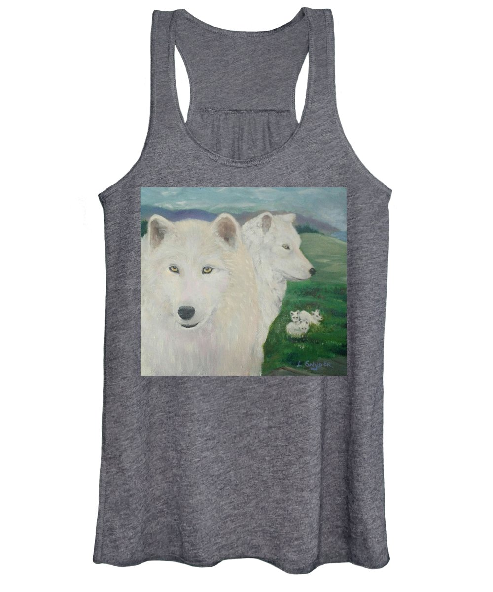 White Women's Tank Top featuring the painting White Wolves Guarding Their Pups by Liz Snyder