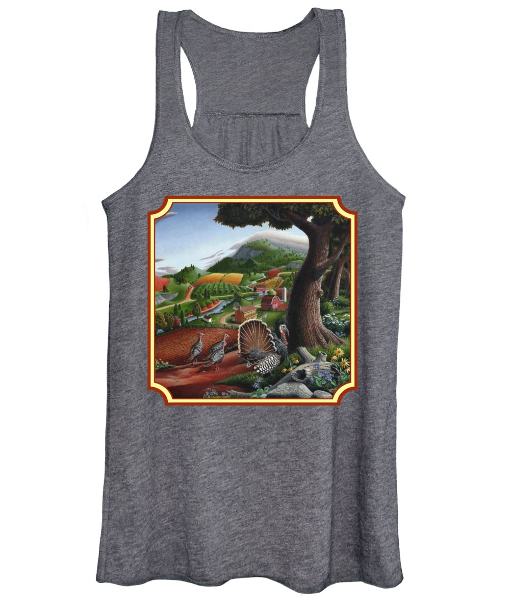 Wild Turkey Women's Tank Top featuring the painting Wild Turkeys In The Hills Country Landscape - Square Format by Walt Curlee