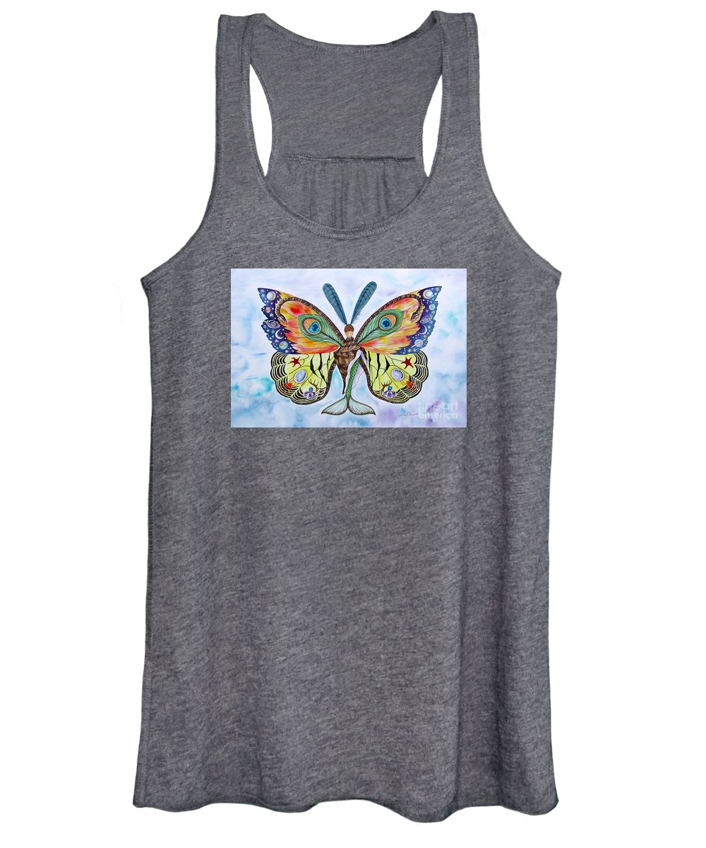 Butterfly Women's Tank Top featuring the painting Winged Metamorphosis by Lucy Arnold