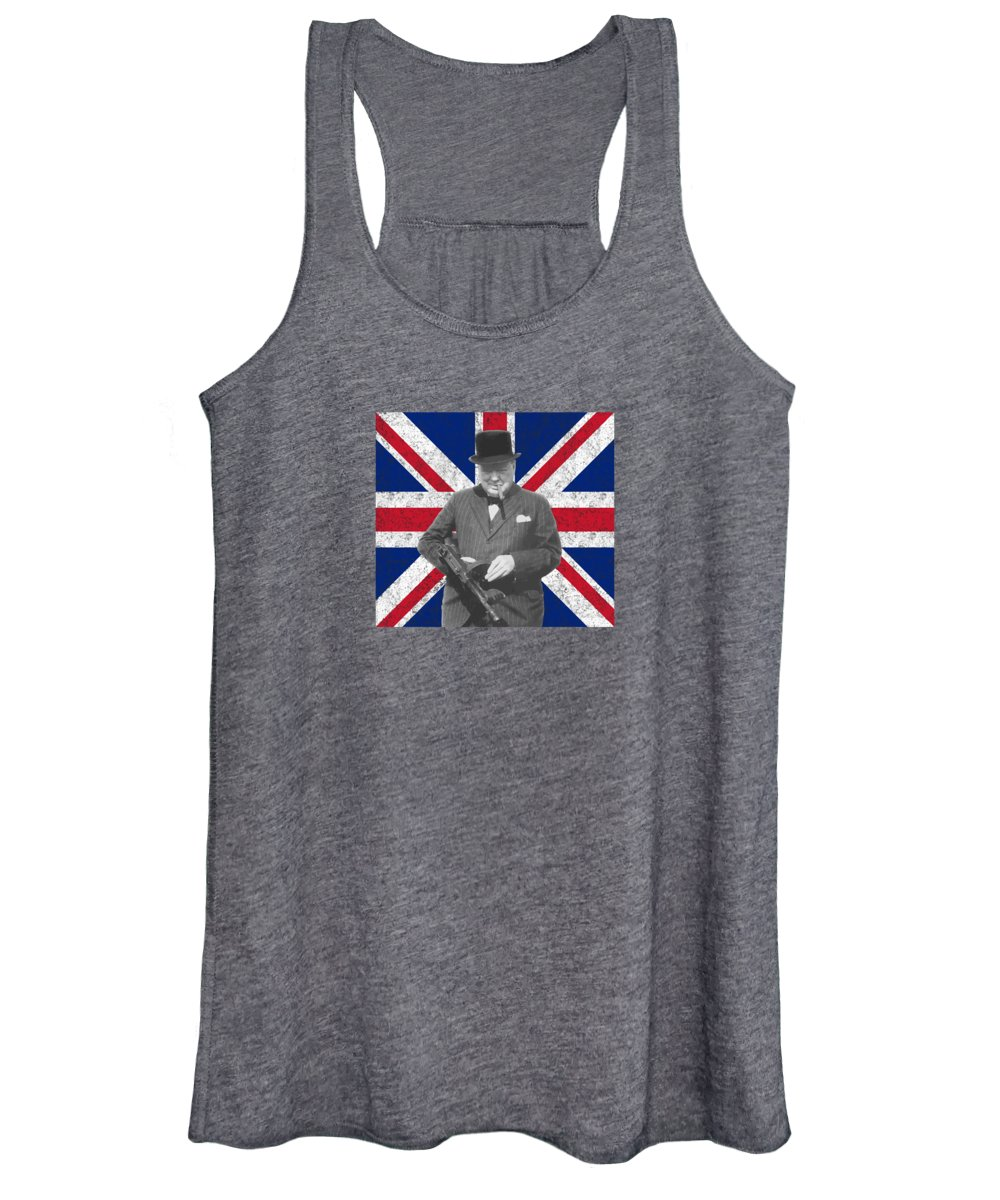 Winston Churchill Women's Tank Top featuring the painting Winston Churchill And His Flag by War Is Hell Store
