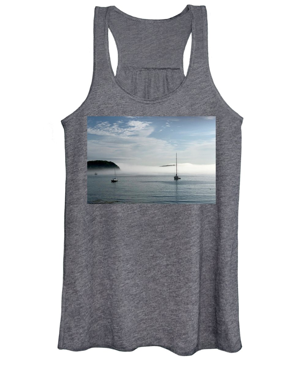 Seascape Women's Tank Top featuring the photograph Morning Mist On Frenchman's Bay by Dick Goodman