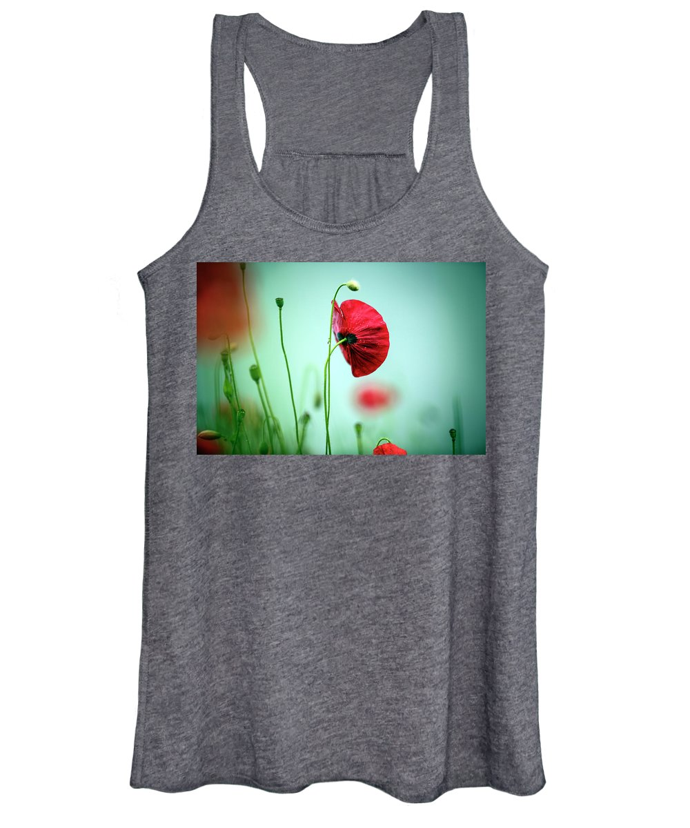 Poppy Women's Tank Top featuring the photograph Morning Poppy Flower by Nailia Schwarz