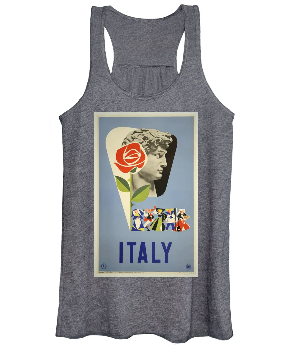 Italy Women's Tank Top featuring the painting Vintage Travel Poster - Italy by Esoterica Art Agency