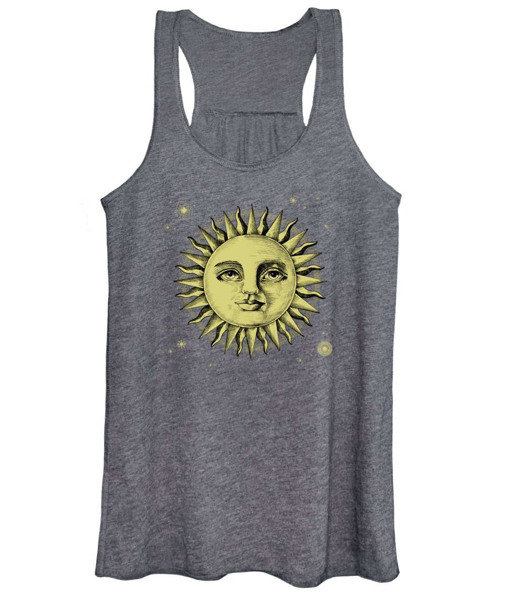 Women's Tank Top featuring the painting Celestial Antique Sun And Sky Watercolor Batik by Little Bunny Sunshine
