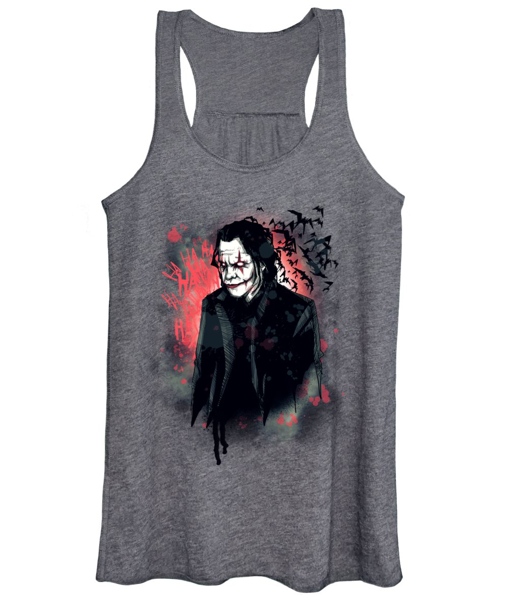 Clown Women's Tank Top featuring the drawing Chaos by Ludwig Van Bacon