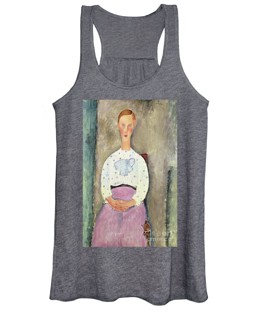 Female Women's Tank Top featuring the painting Girl With A Polka Dot Blouse, 1919 by Amedeo Modigliani
