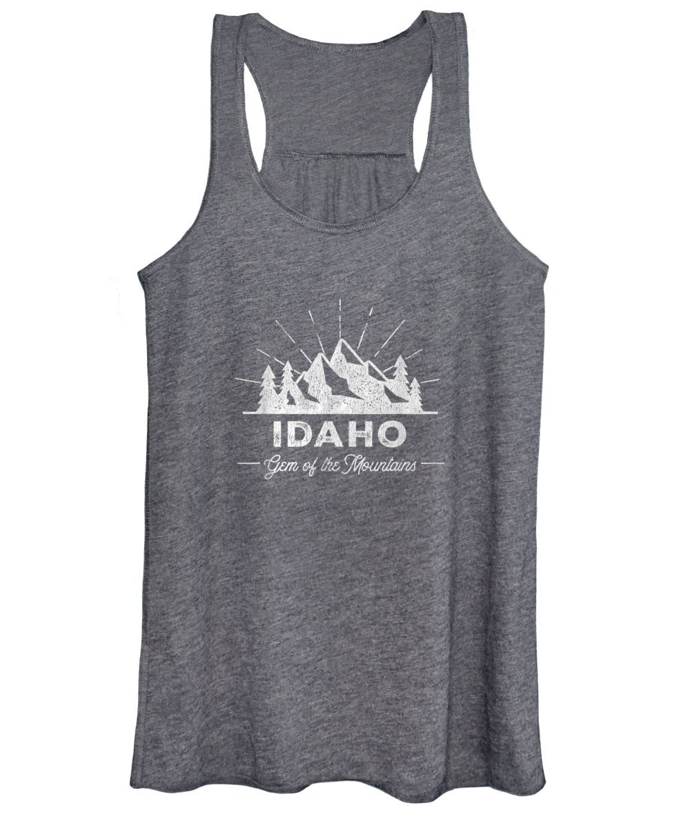 girls' Novelty Clothing Women's Tank Top featuring the digital art Idaho T Shirt Vintage Hiking Retro Tee Design by Unique Tees