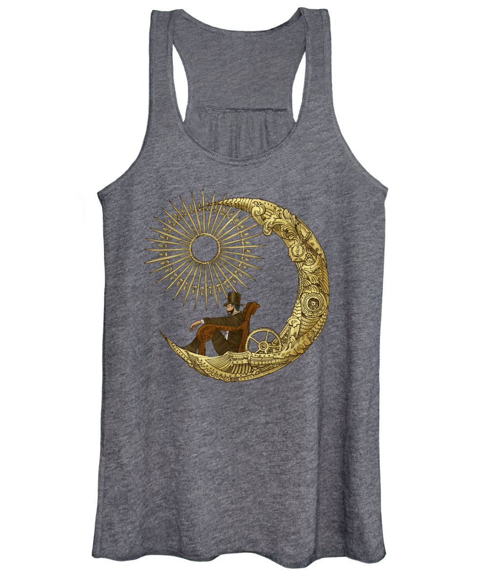 Blue Women's Tank Top featuring the digital art Moon Travel by Eric Fan