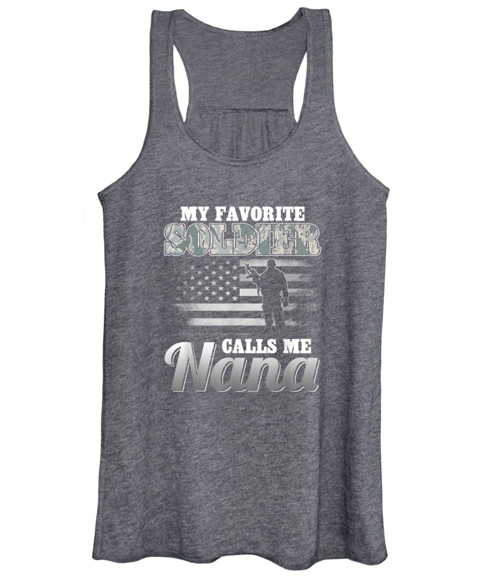 men's Novelty T-shirts Women's Tank Top featuring the digital art My Favorite Soldier Calls Me Nana T-shirt Air Force Gifts by Do David