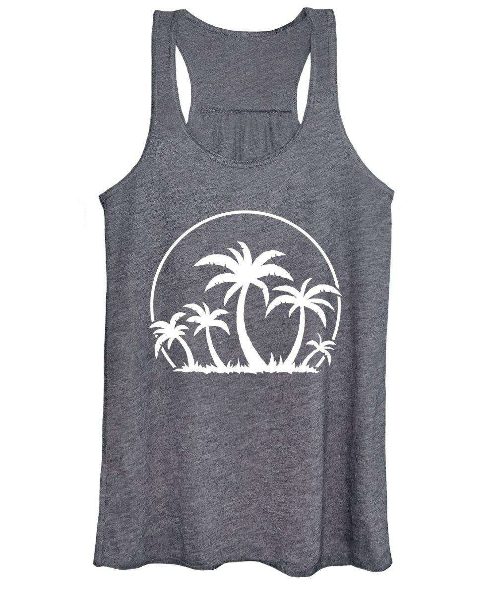 Beach Women's Tank Top featuring the digital art Palm Trees And Sunset in White by John Schwegel