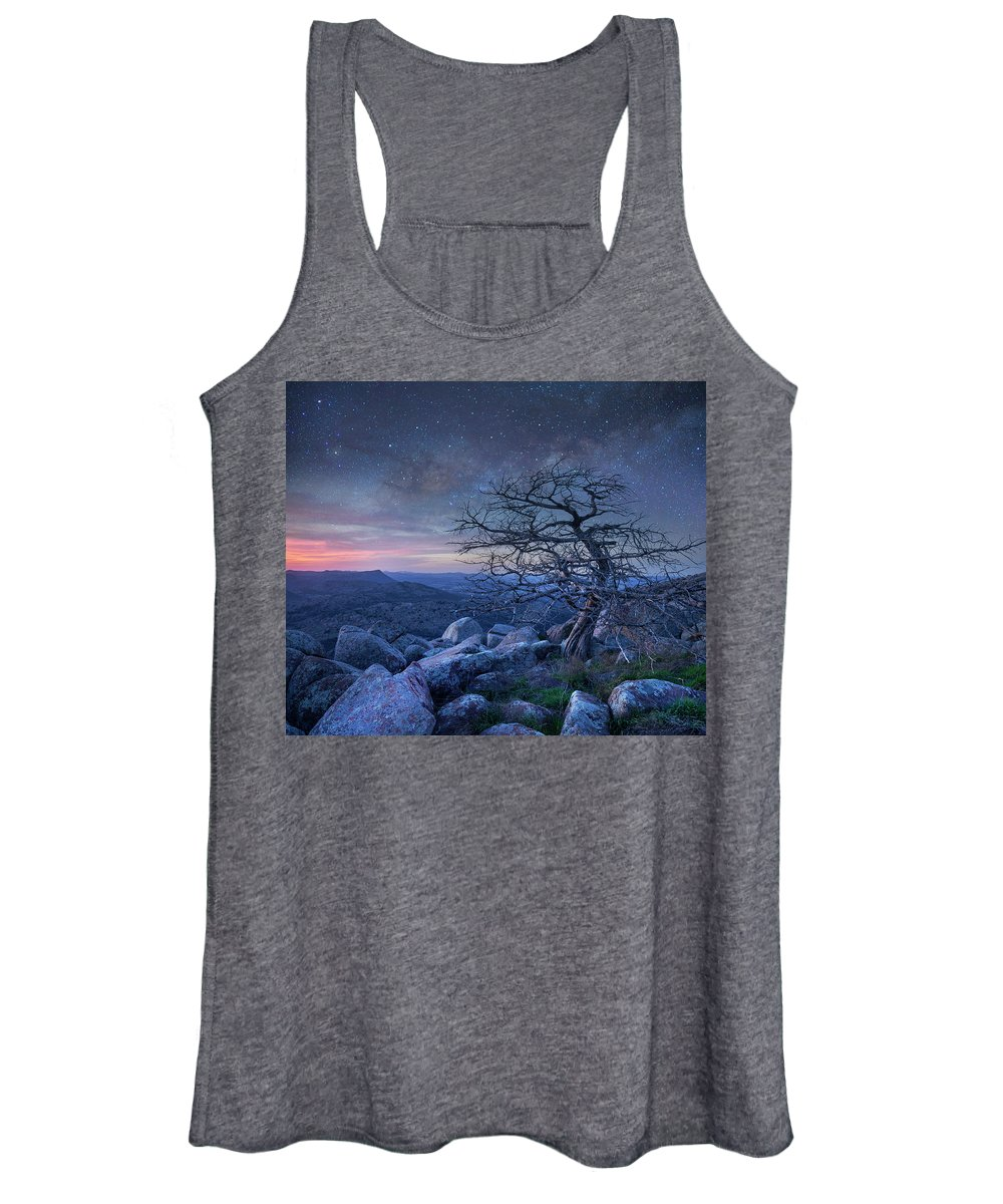 00559646 Women's Tank Top featuring the photograph Stars Over Pine, Mount Scott by Tim Fitzharris