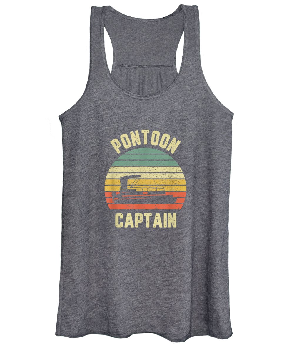men's Novelty T-shirts Women's Tank Top featuring the digital art Vintage Pontoon Captain Shirt Funny Pontoon Boat Tshirt Tee T-shirt by Do David