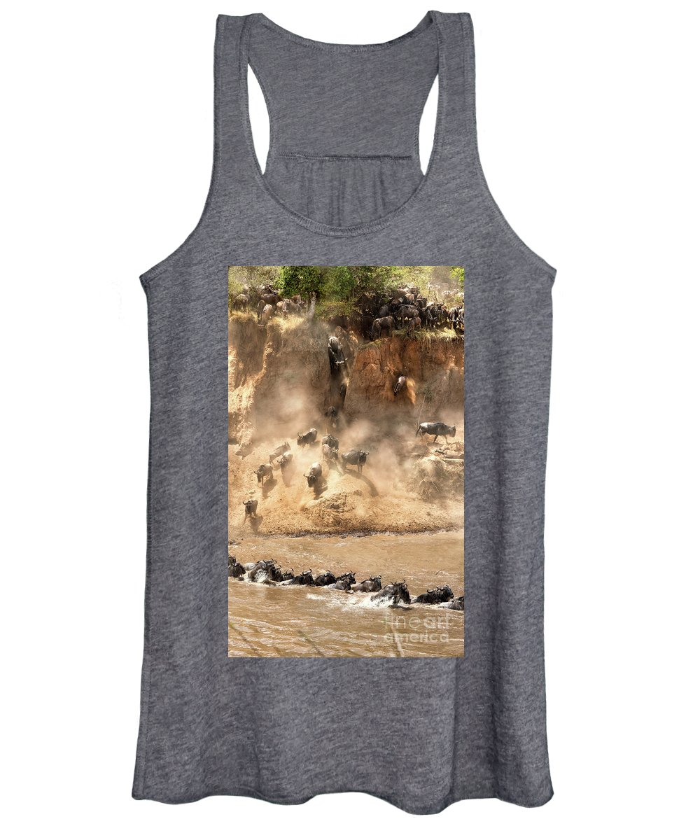 Mara Women's Tank Top featuring the photograph Wildebeest Jump From The Banks Of The Mara by Jane Rix