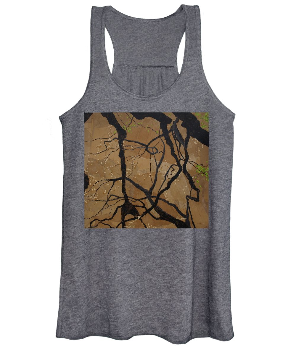 Abstract Tree Branches Women's Tank Top featuring the painting Arboretum Dancers by Leah Tomaino
