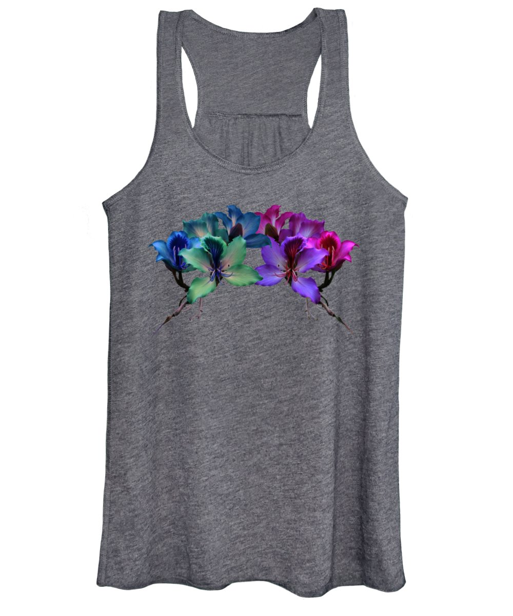 Orchid Women's Tank Top featuring the photograph Blue And Purple Orchids by Shane Bechler