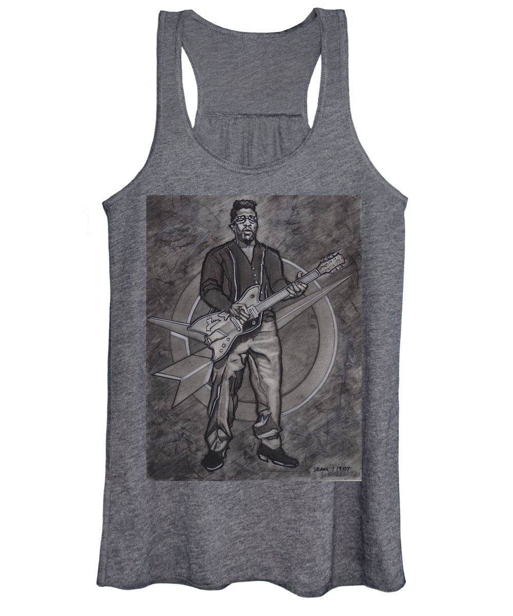 Texas Women's Tank Top featuring the drawing Bo Diddley - Have Guitar Will Travel by Sean Connolly