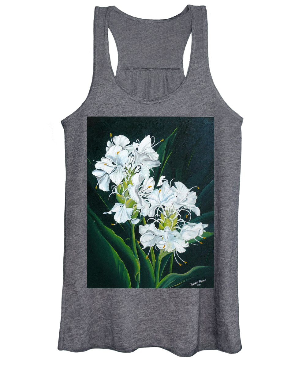 Caribbean Painting Butterfly Ginger Painting Floral Painting Botanical Painting Flower Painting Water Ginger Painting Or Water Ginger Tropical Lily Painting Original Oil Painting Trinidad And  Tobago Painting Tropical Painting Lily Painting White Flower Painting Women's Tank Top featuring the painting Butterfly Ginger by Karin Dawn Kelshall- Best