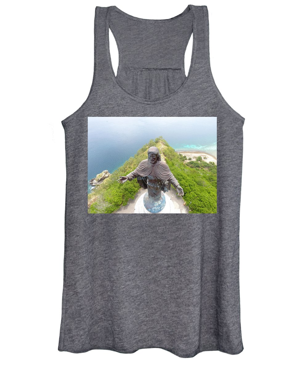 Adventure Women's Tank Top featuring the photograph Cristo Rei of Dili statue of Jesus by Brthrjhn2099