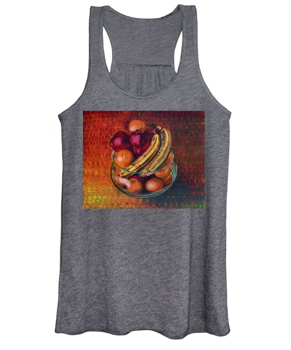 Oil Painting On Canvas Women's Tank Top featuring the painting Glass Bowl Of Fruit by Sean Connolly