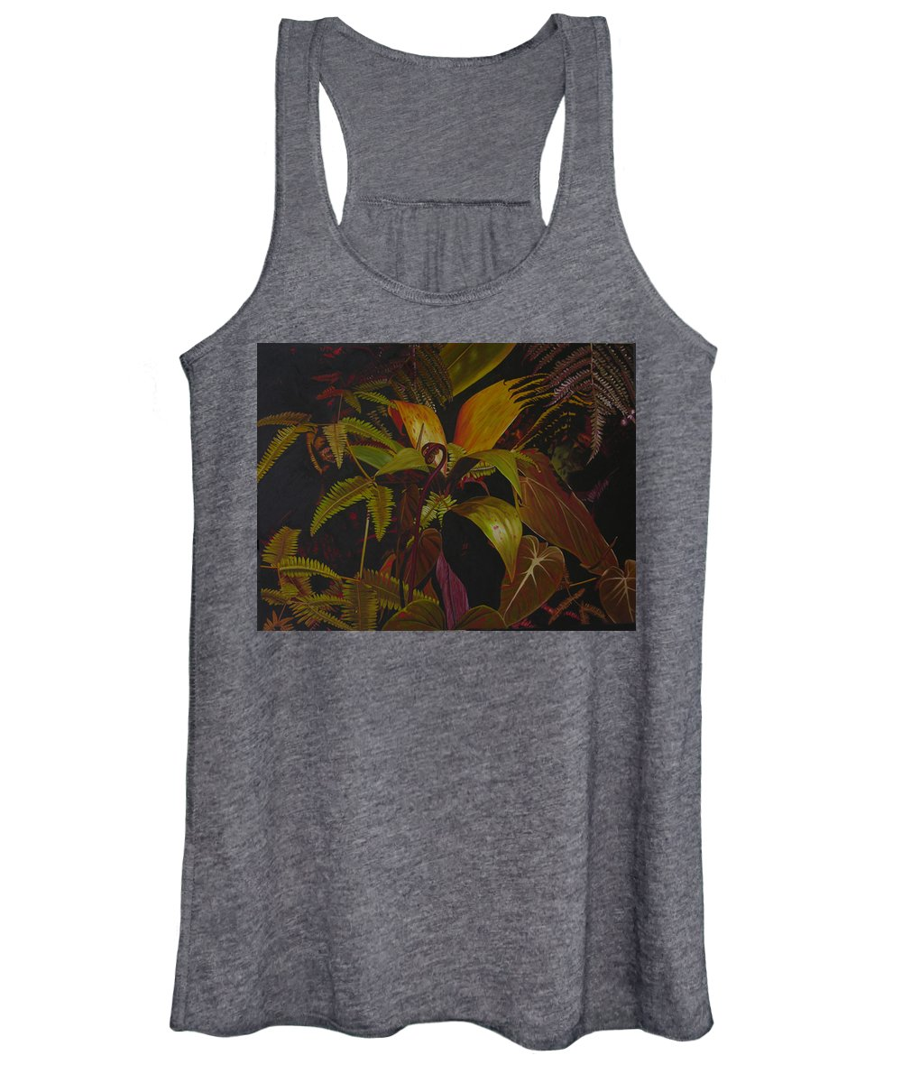 Plant Women's Tank Top featuring the painting Midnight in the garden by Thu Nguyen