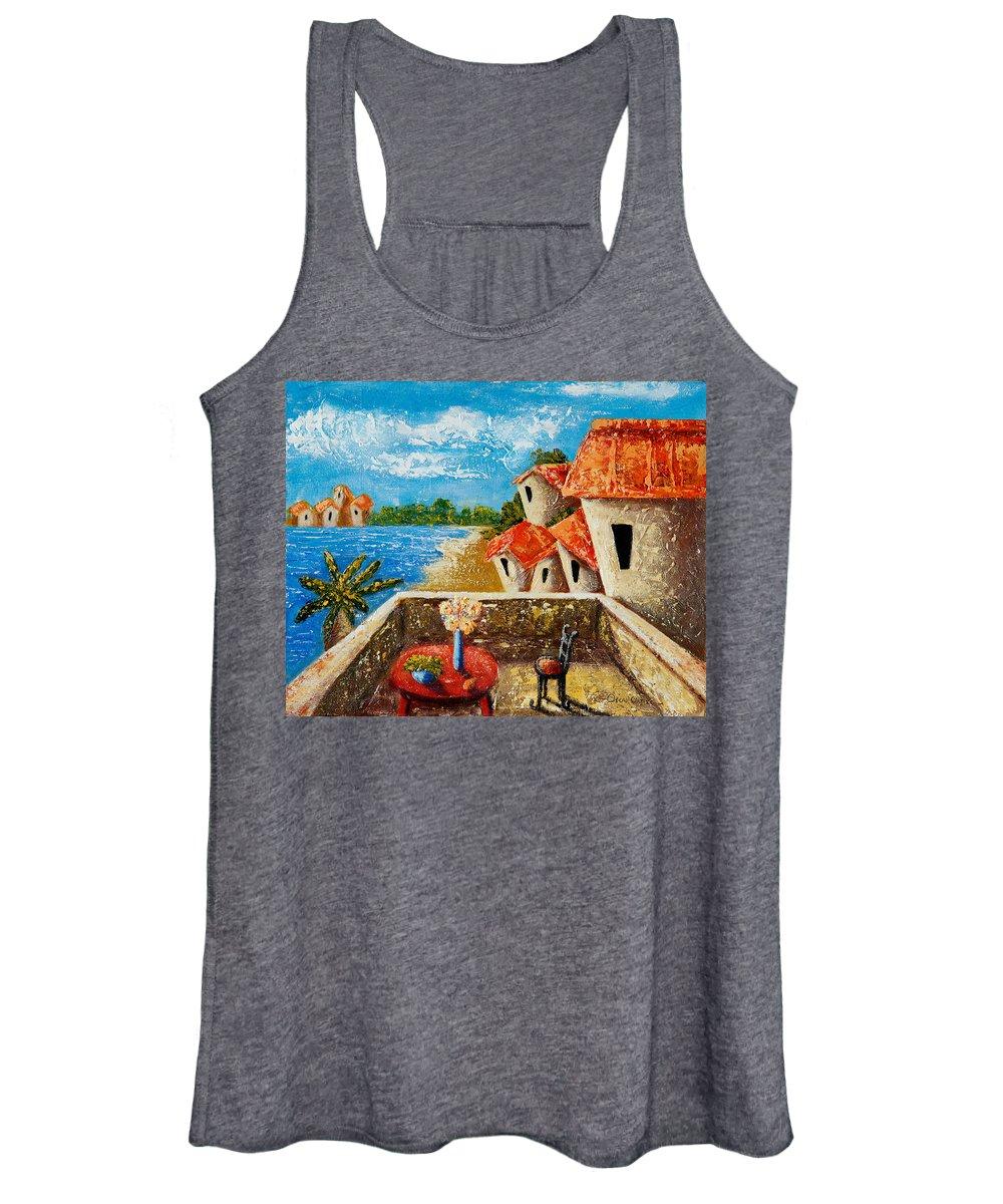 Landscape Women's Tank Top featuring the painting Playa Gorda by Oscar Ortiz