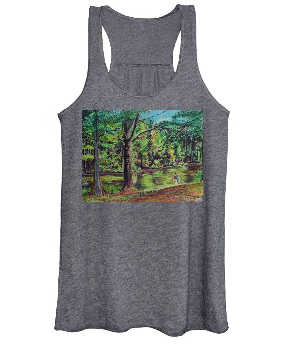 Family Women's Tank Top featuring the pastel Sisters At Wason Pond by Sean Connolly