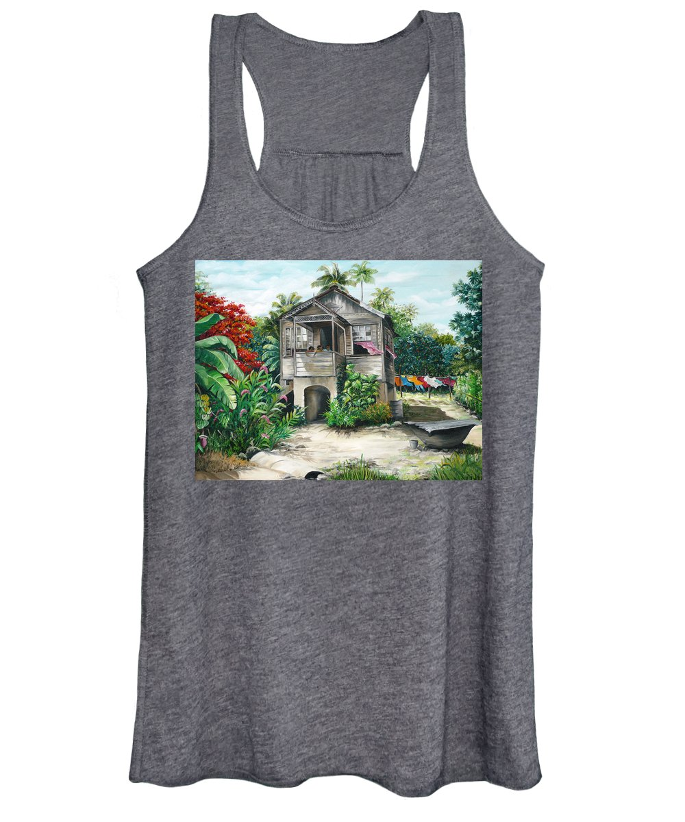 Landscape Painting Caribbean Painting House Painting Tobago Painting Trinidad Painting Tropical Painting Flamboyant Painting Banana Painting Trees Painting Original Painting Of Typical Country House In Trinidad And Tobago Women's Tank Top featuring the painting Sweet Island Life by Karin Dawn Kelshall- Best