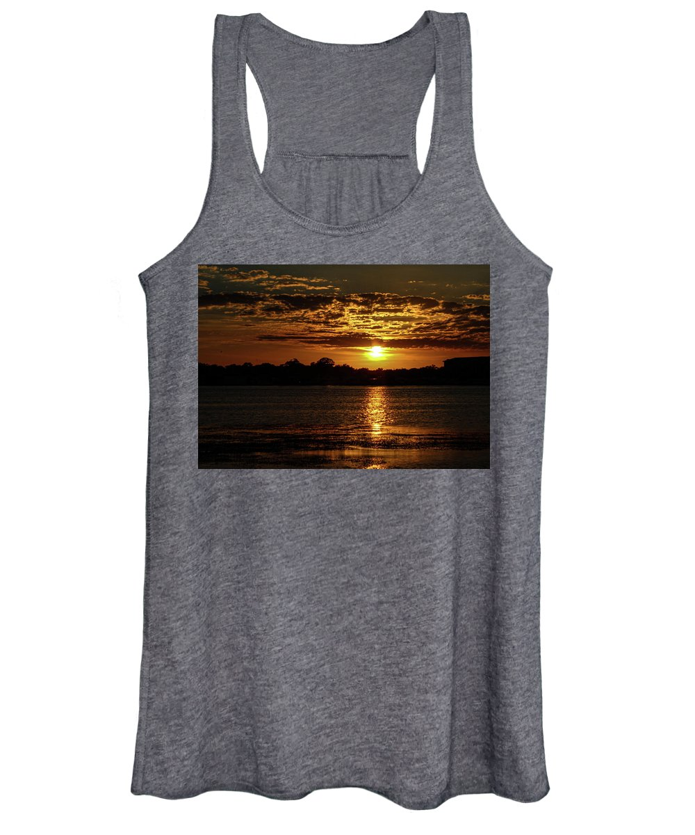 Sunset Women's Tank Top featuring the photograph The Sunset over the Lake by Daniel Cornell