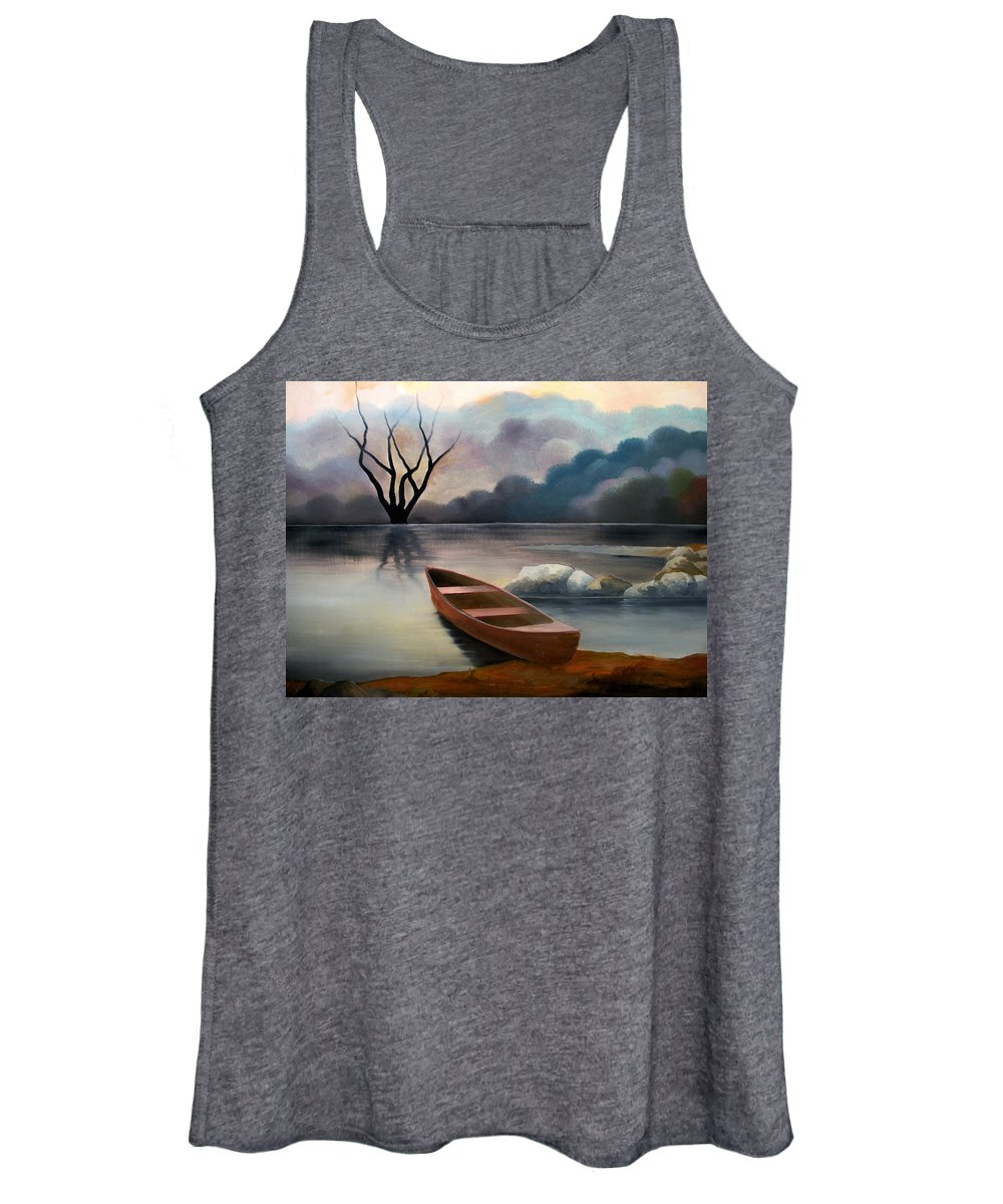 Duck Women's Tank Top featuring the painting Tranquility by Sergey Bezhinets