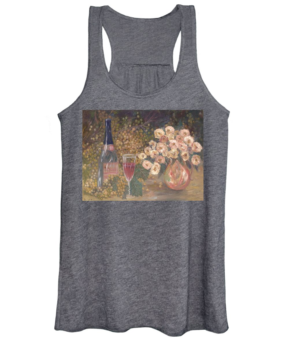Stilllife; Floral; Wine Women's Tank Top featuring the painting Wine And Roses by Ben Kiger