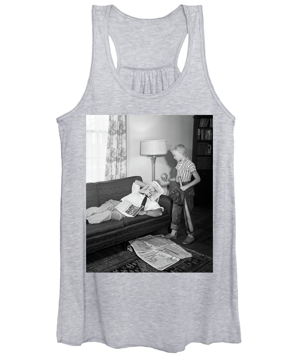 Photography Women's Tank Top featuring the photograph 1950s Father Lying On A Sofa by Vintage Images