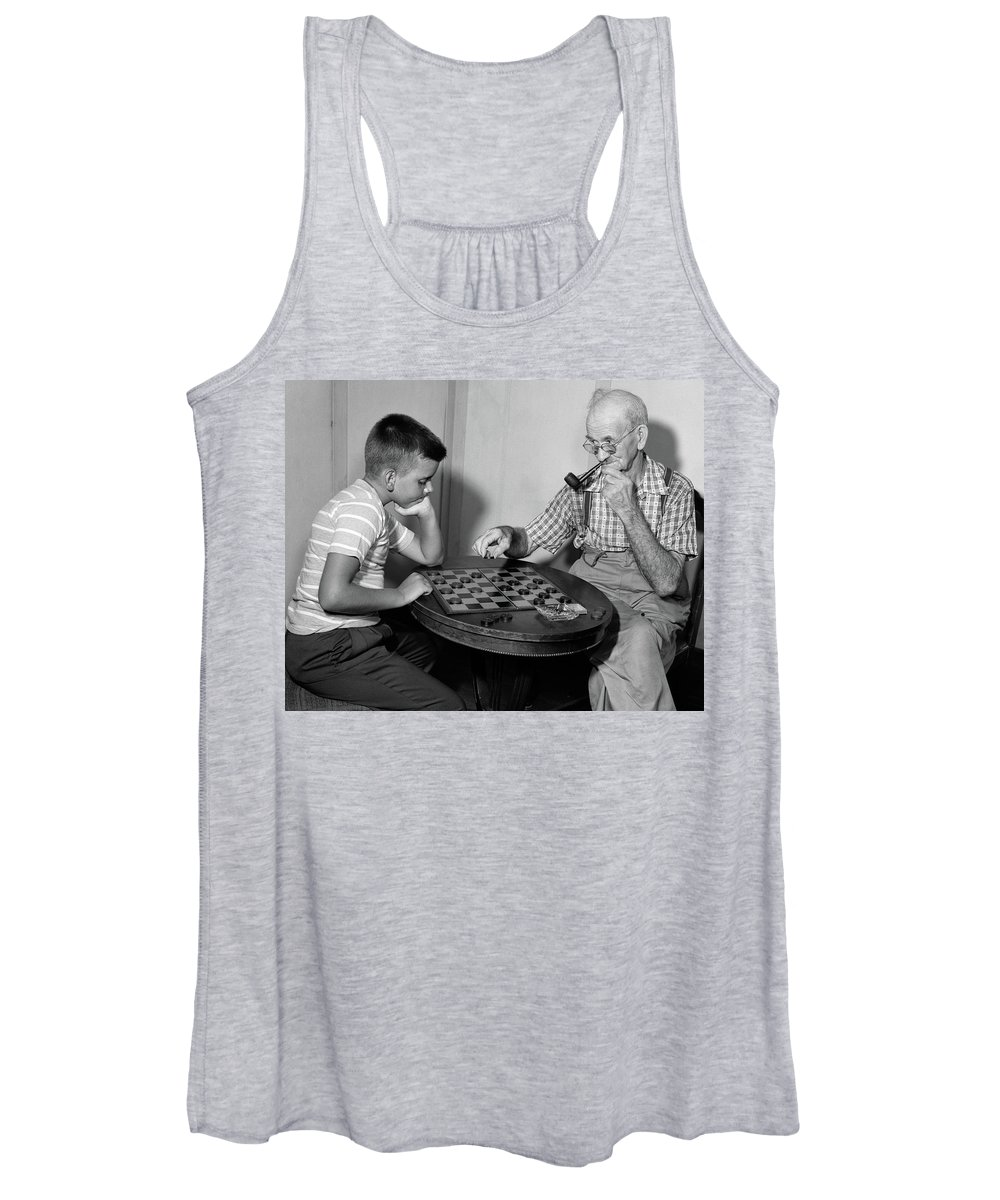 Photography Women's Tank Top featuring the photograph 1950s Senior Man Grandfather Smoking by Vintage Images