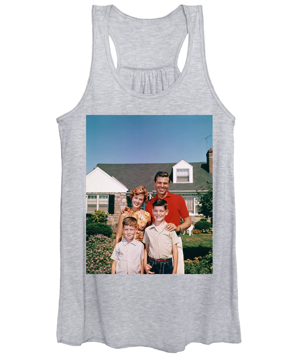 Photography Women's Tank Top featuring the photograph 1960s Portrait Smiling Family Father by Vintage Images