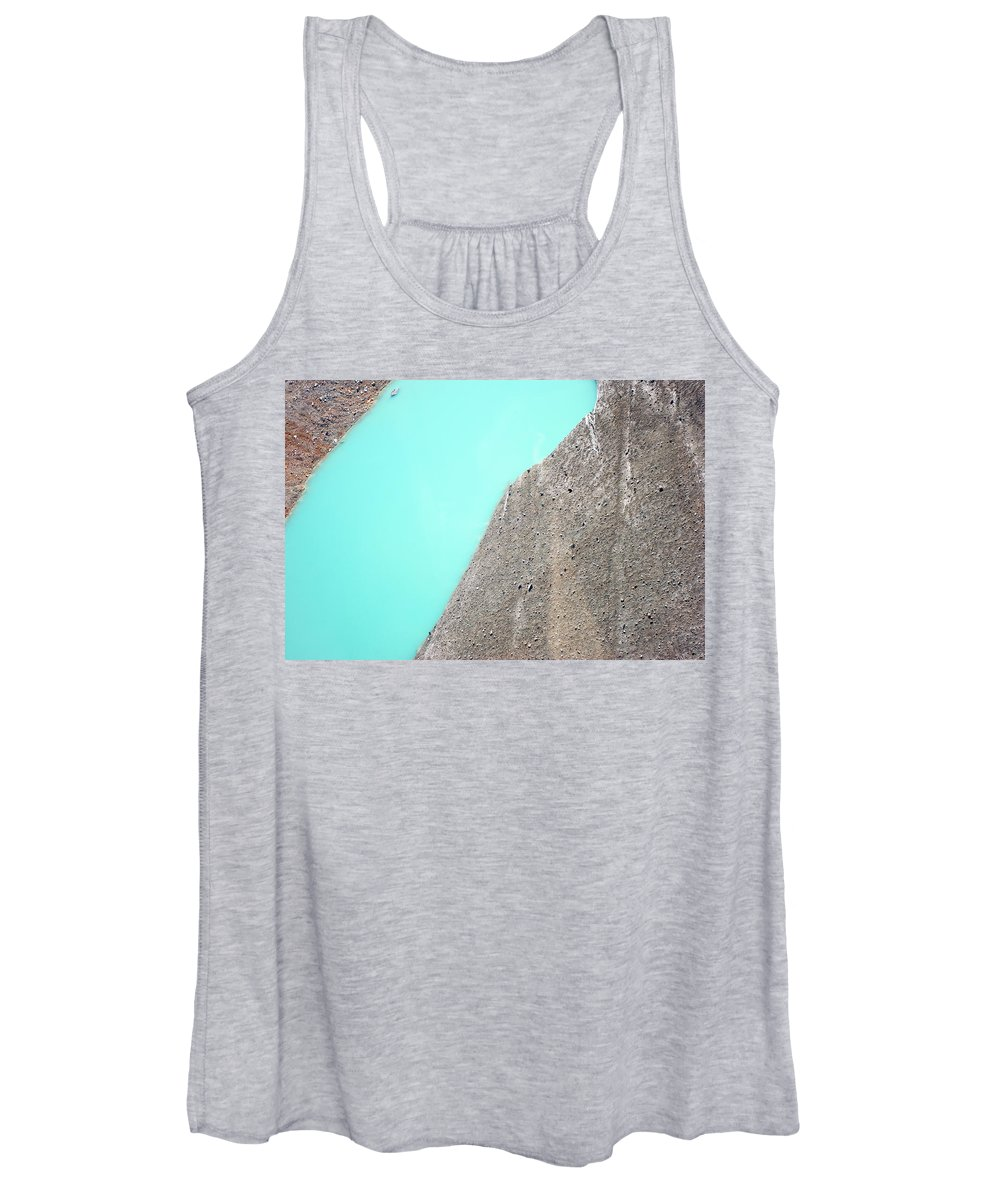 Aerial View Women's Tank Top featuring the photograph A Silty Glacier-dammed Lake by Dan Shugar