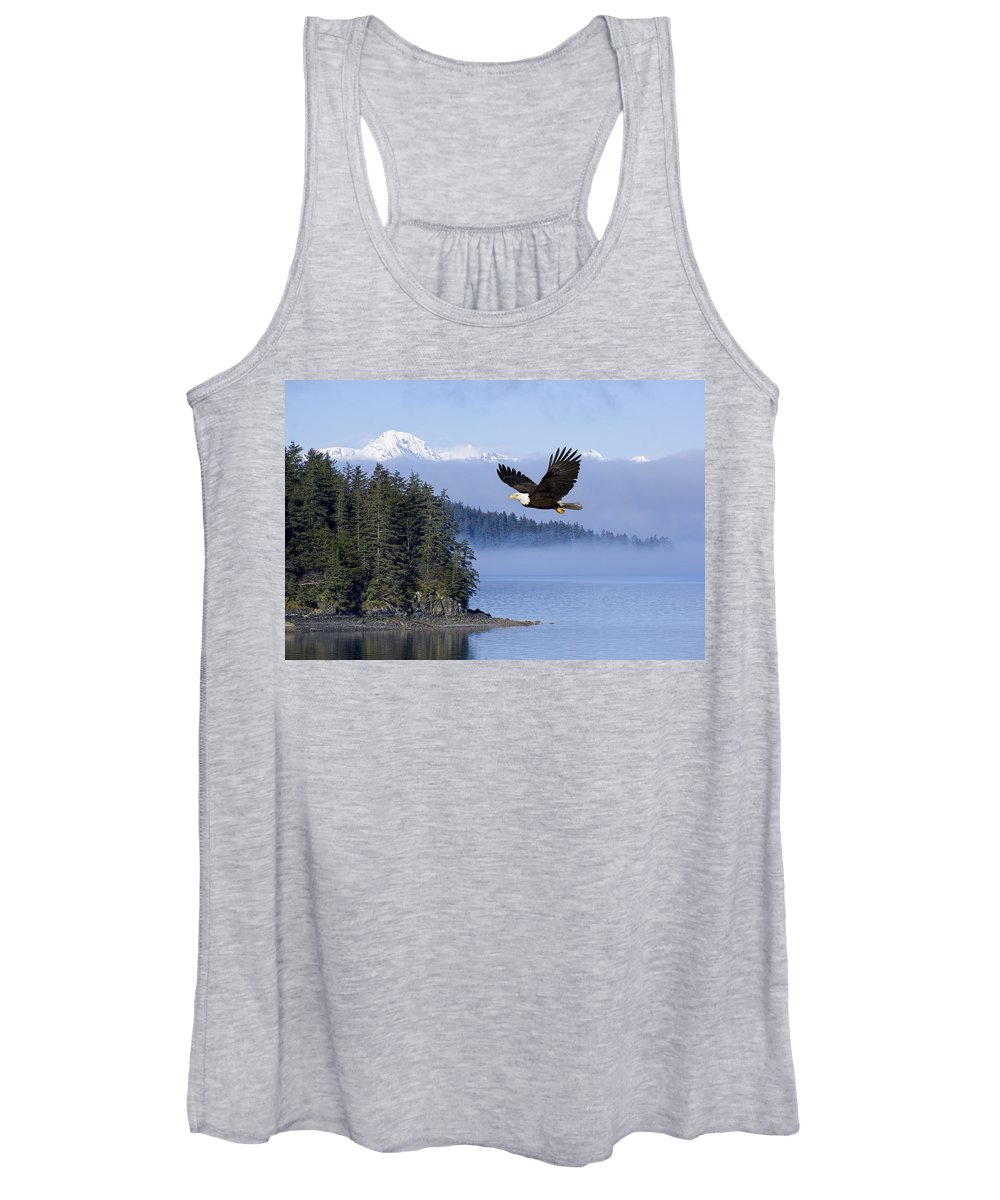 Alaska Women's Tank Top featuring the photograph Bald Eagle In Flight Over The Inside by John Hyde