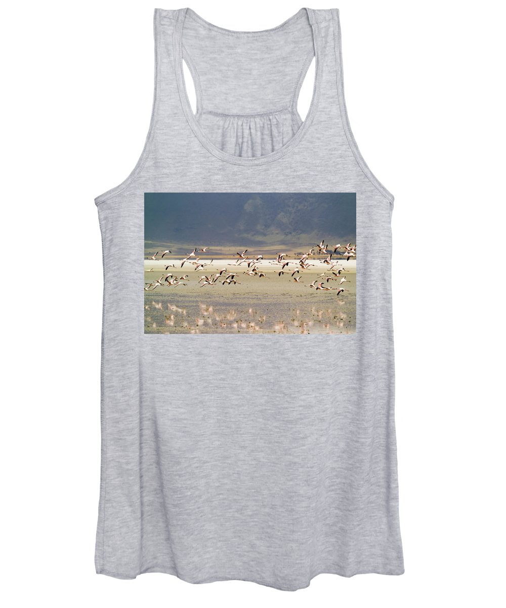 Action Women's Tank Top featuring the photograph Flamingos Flying Over Water by Jonathan Kingston