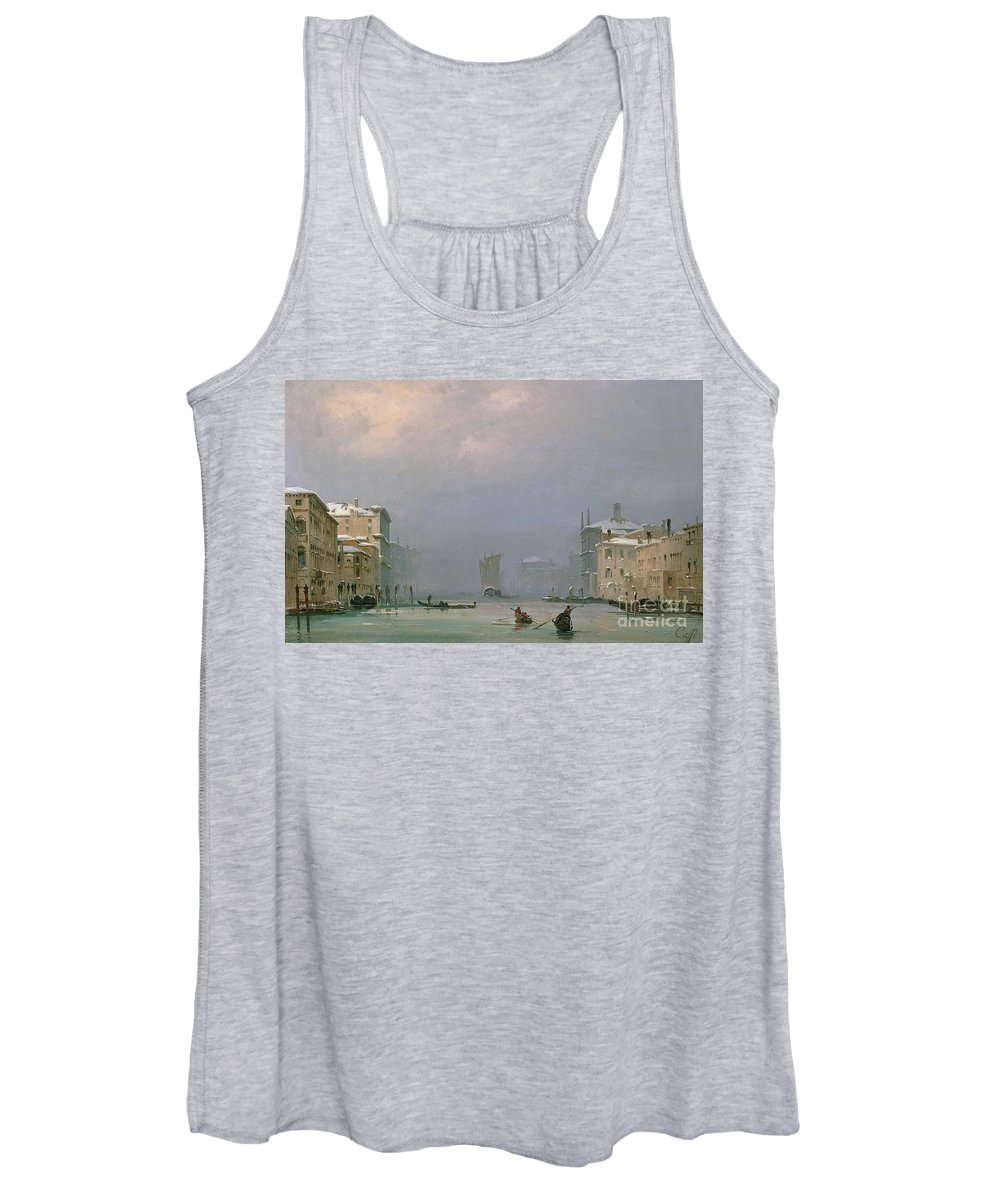 Winter Women's Tank Top featuring the painting Grand Canal With Snow And Ice by Ippolito Caffi