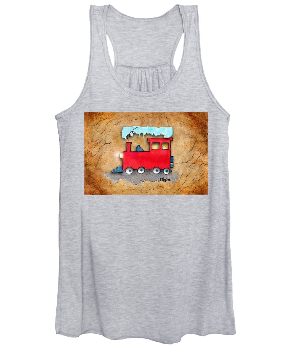 Watercolor Women's Tank Top featuring the painting Little Red Train by Paula Ayers