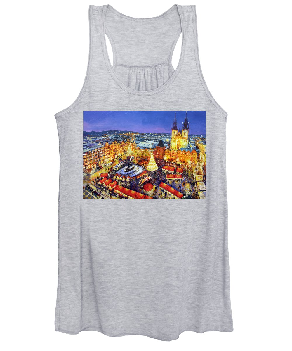 Acrilic Women's Tank Top featuring the painting Prague Old Town Square Christmas Market 2014 by Yuriy Shevchuk
