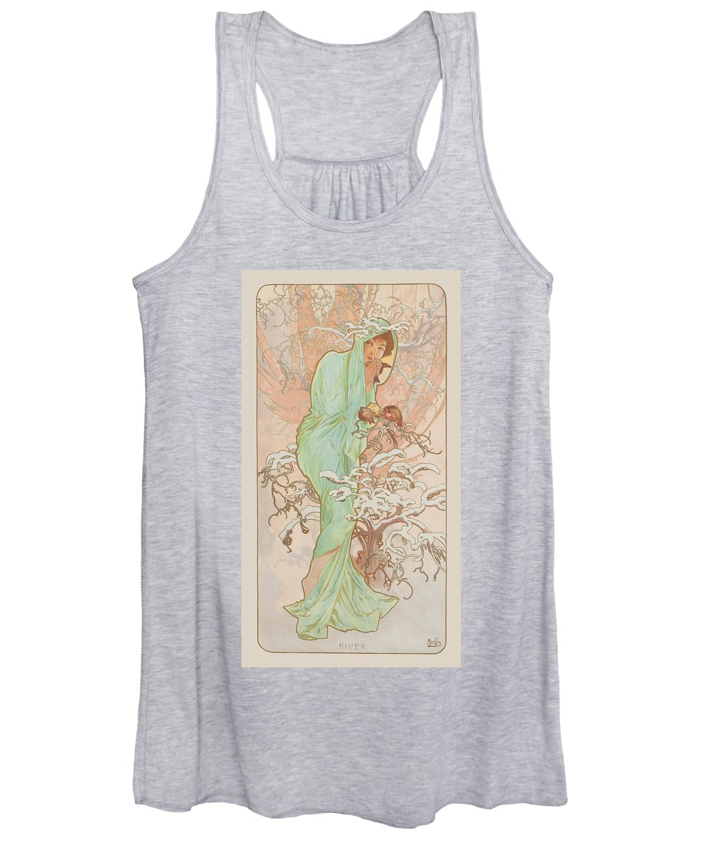 Seasons Women's Tank Top featuring the painting Winter by Alphonse Mucha