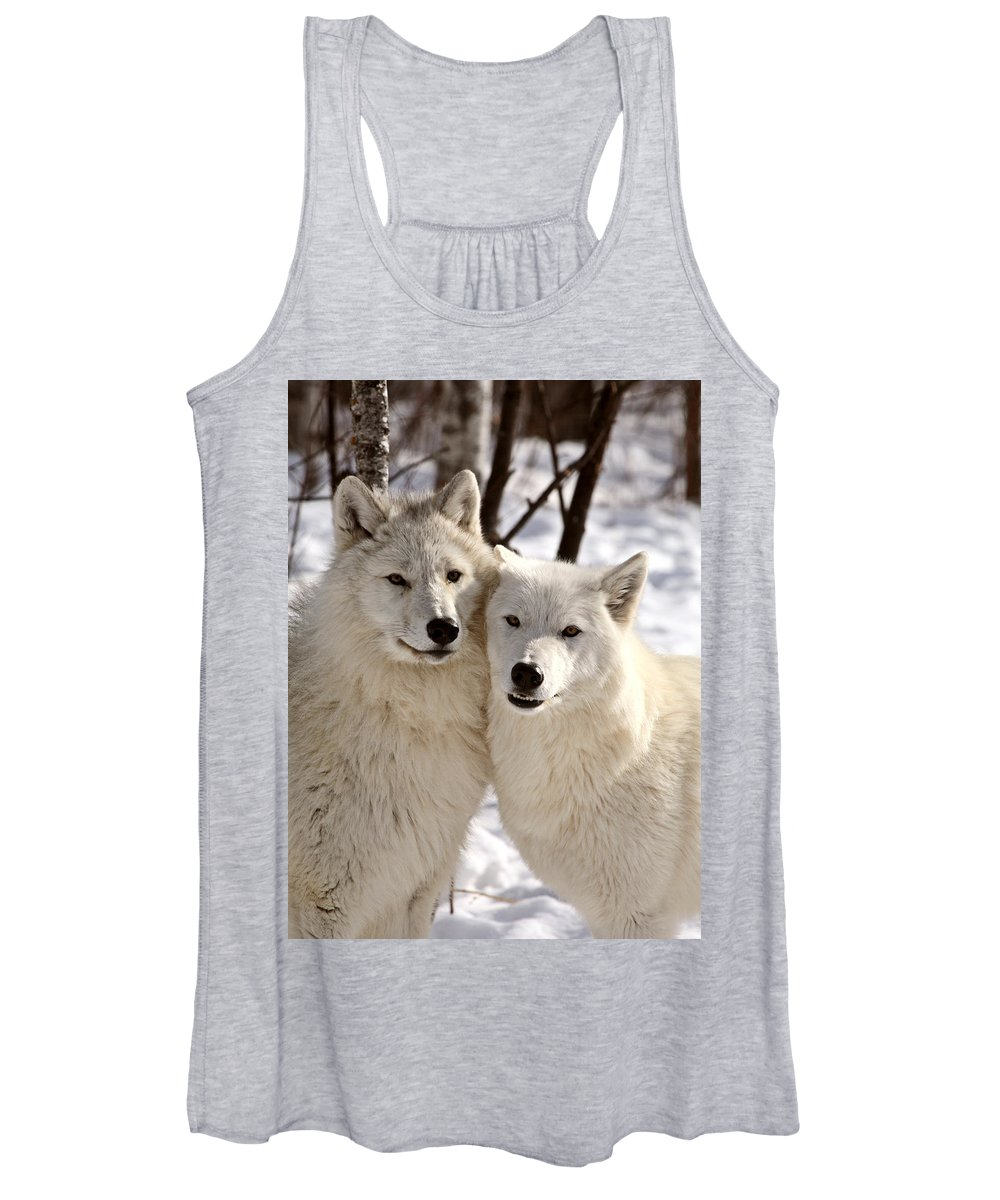 Arctic Wolf Women's Tank Top featuring the photograph Arctic Wolves Close Together In Winter by Mark Duffy