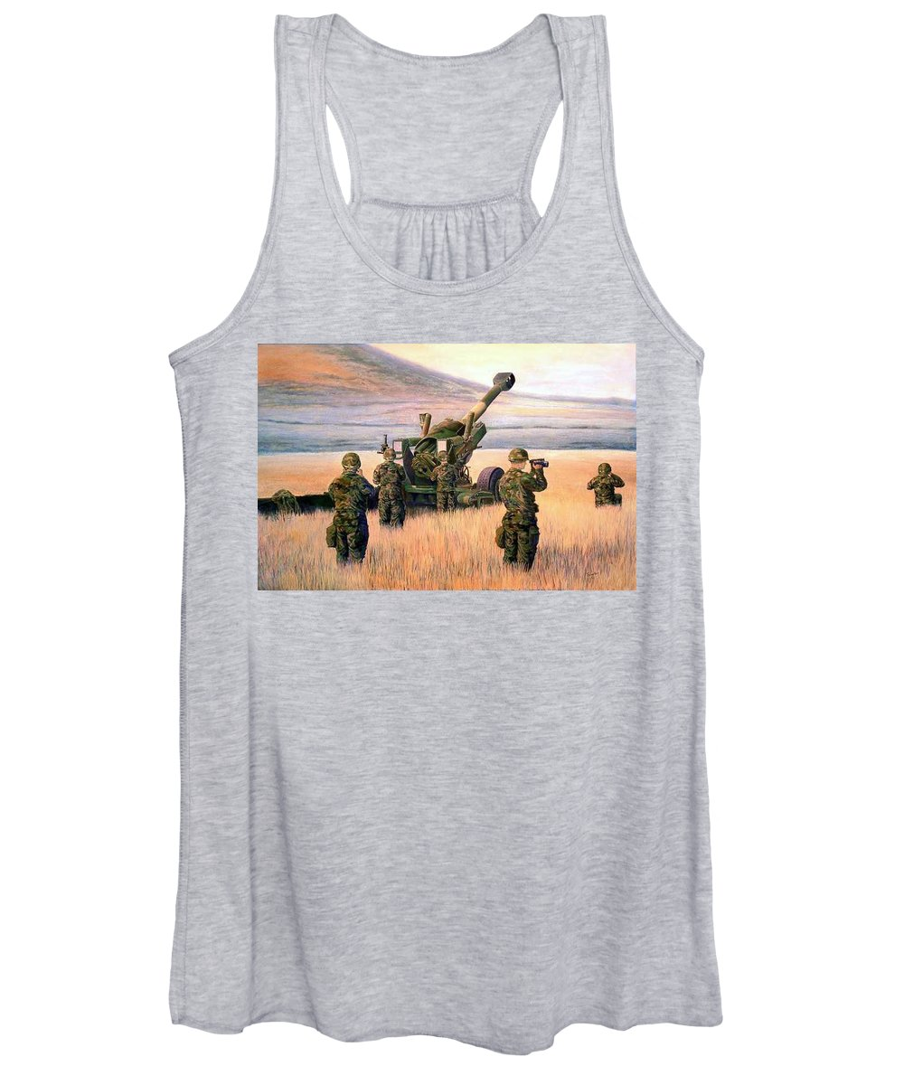 Signed And Numbered Prints Of The Montana National Guard Women's Tank Top featuring the print 1-190th Artillery by Scott Robertson