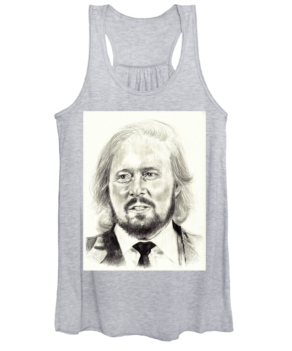 Barry Gibb Women's Tank Top featuring the drawing Barry Gibb portrait by Suzann Sines