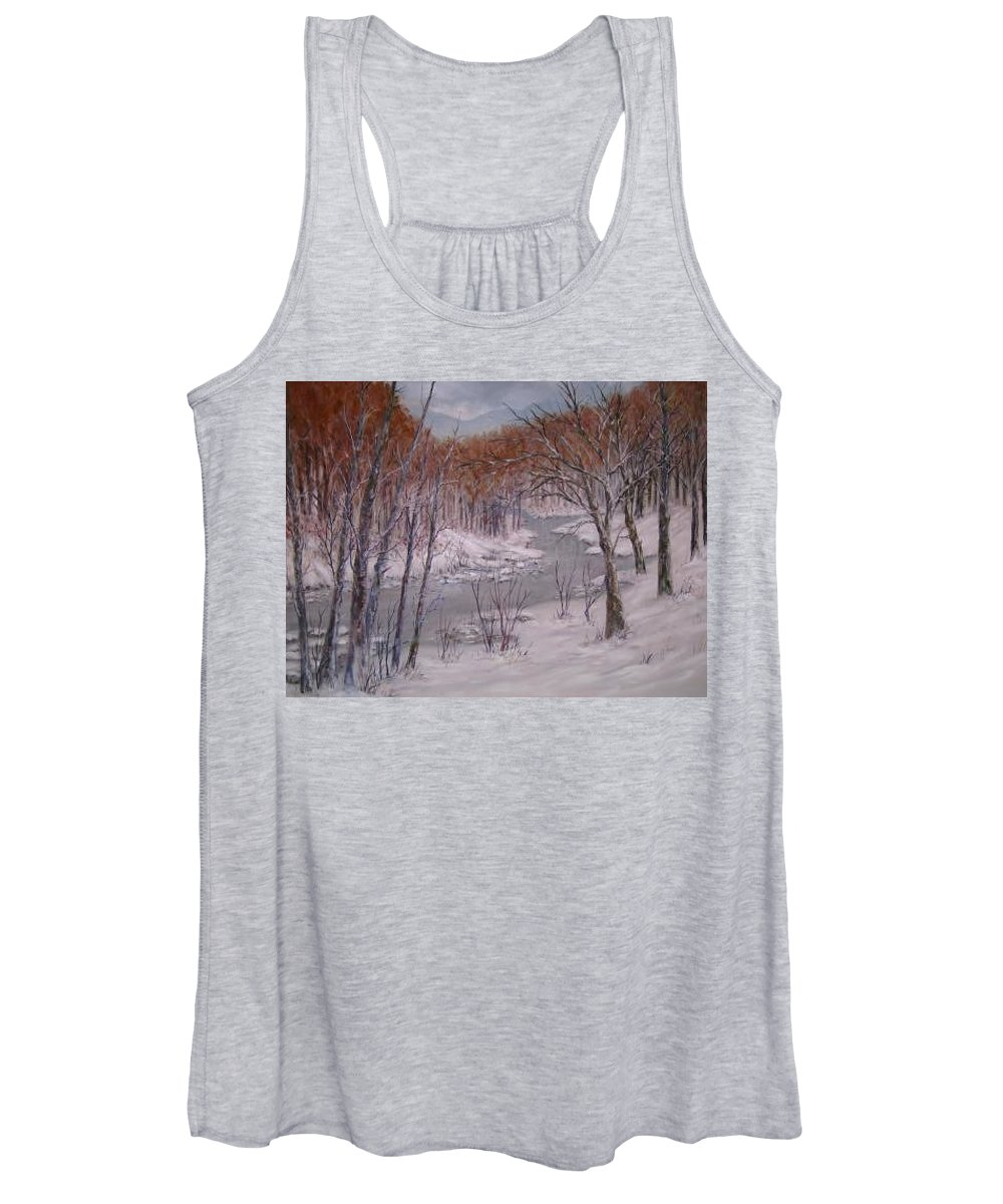 Snow; Landscape Women's Tank Top featuring the painting Peace And Quiet by Ben Kiger